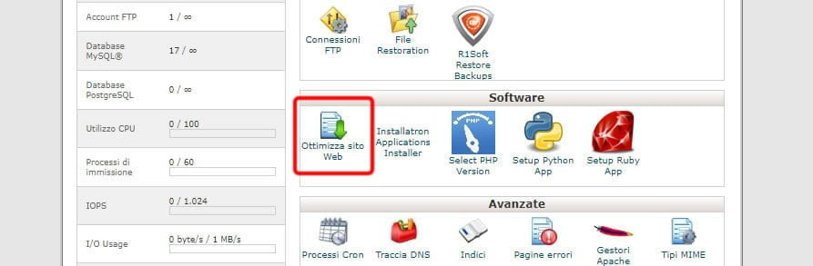 ottimizzazione sito web con cpanel