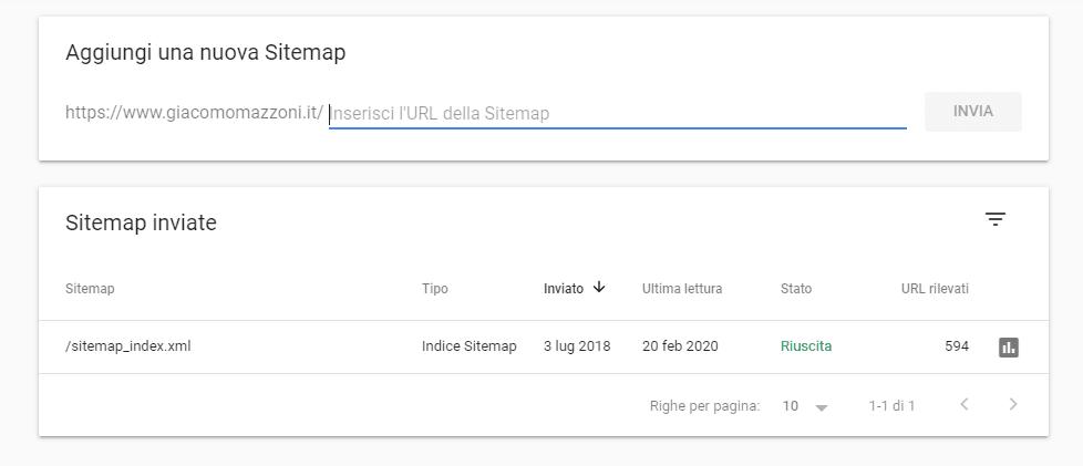 Inserire sitemap su Google Search Console