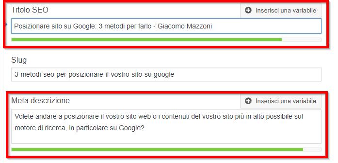 Posizionare un sito su Google: Titolo e descrizione Yoast