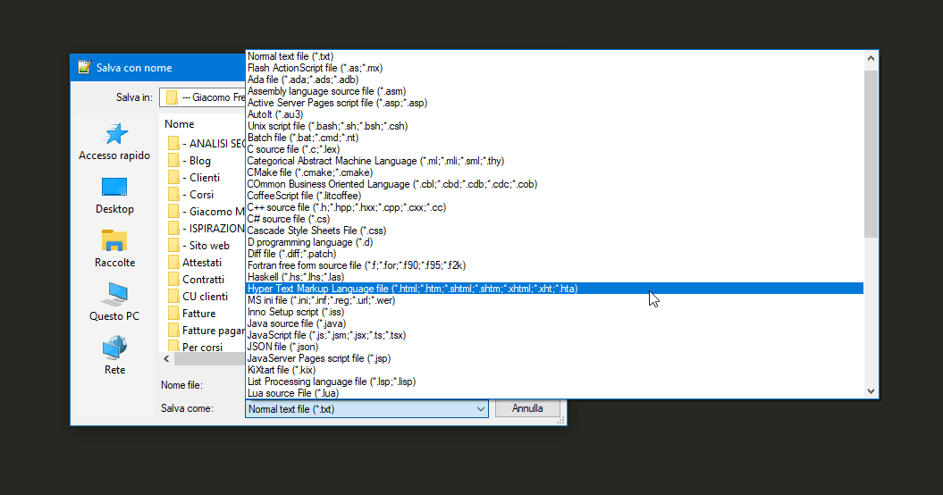 Impostare homepage tramite htaccess: Scegliere il formato di salvataggio del file