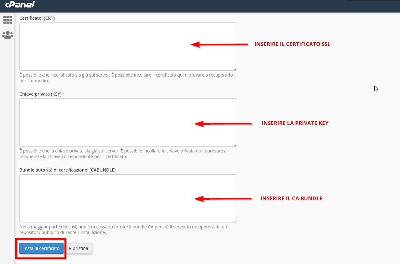 Installare il certificato SSL sul cPanel