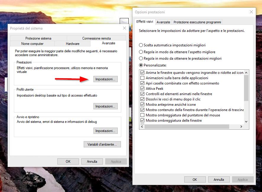 Velocizzare Windows 10: ottimizzazione prestazioni visive