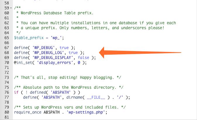 Errori PHP: aggiungere il codice al wp-config