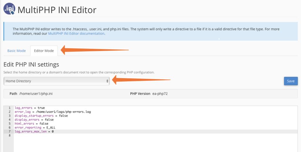 Editare il PHP ini